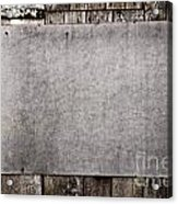 Old Grunge Plywood Board On A Wooden Wall Acrylic Print