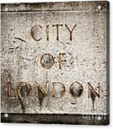 Old Grunge Stone Board With City Of London Text Acrylic Print