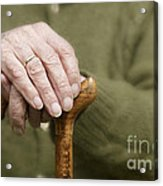 Old Hands Of A Senior On Walking Stick Acrylic Print