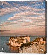 Old Harry Rocks Jurassic Coast Unesco Dorset England At Sunset Acrylic Print by Matthew Gibson
