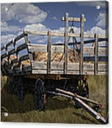 Old Hay Wagon In The Prairie Grass Acrylic Print
