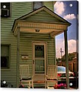 Old Houses - New Jersey - In The Oranges - Green House With Flower Pots And Rocking Chairs - Color Acrylic Print