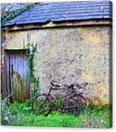 Old Irish Cottage With Bike By The Door Acrylic Print