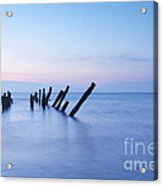 Old Jetty Posts At Sunrise Acrylic Print