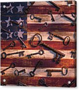Old Keys On American Flag Acrylic Print
