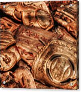 Old Leather Acrylic Print by Bill Wakeley