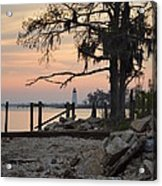 Old Lighthouse In Sunset Acrylic Print