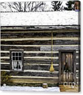 Old Log Home With A Broom Acrylic Print