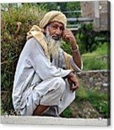 Old Man Carrying Fodder Swat Valley Kpk Pakistan Acrylic Print