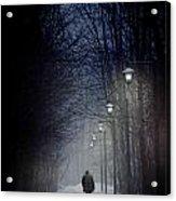 Old Man Walking On Snowy Winter Path At Night Acrylic Print by Sandra Cunningham
