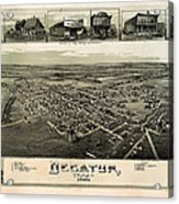 Old Map Of Decatur Texas 1890 Acrylic Print