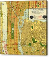 Old Map Of New York Central Railroad Manhattan Map 1918 Acrylic Print