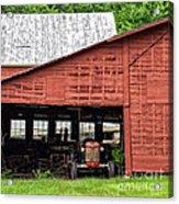 Old Massey Ferguson Red Tractor In Barn Acrylic Print
