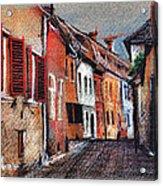 Old Medieval Street In Sighisoara Citadel Romania Acrylic Print
