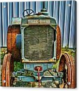 Old Metal Wheeled Tractor Hdr Acrylic Print