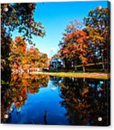 Old Mill House Pond In Autumn Fine Art Photograph Print With Vibrant Fall Colors Acrylic Print