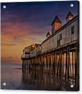 Old Orchard Beach Pier Sunset Acrylic Print by Susan Candelario