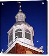Old Otterbein Umc Moon And Bell Tower Acrylic Print