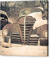 Old Plymouth Classic Car In The Snow Acrylic Print