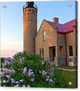 Old Point Mackinac Lighthouse And Lilacs Acrylic Print