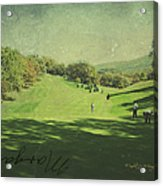 Old Postcard Of Golf Buddies At The Homestead Acrylic Print
