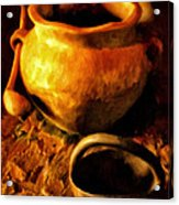 Old Pot And Ladle Acrylic Print