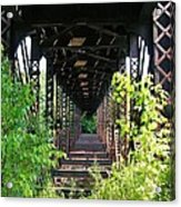 Old Railroad Car Bridge Acrylic Print