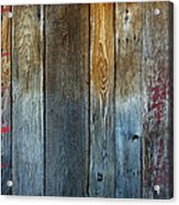 Old Reclaimed Wood - Rustic Red Painted Wall  Acrylic Print