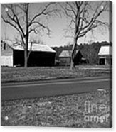 Old Red Barn In Black And White Acrylic Print