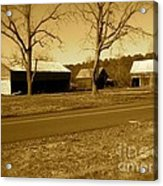 Old Red Barn In Sepia Acrylic Print