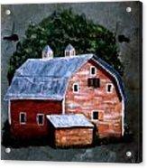 Old Red Barn On Slate Acrylic Print