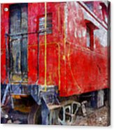 Old Red Caboose Acrylic Print