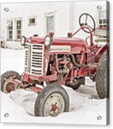 Old Red Tractor In The Snow Acrylic Print by Edward Fielding