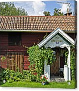 Old Red Wooden Hut Acrylic Print by Conny Sjostrom
