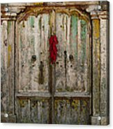 Old Ristra Door Acrylic Print by Kurt Van Wagner