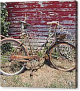 Old Rusty Bicycle With Basket Of Lavender Flowers Acrylic Print