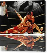 Old School Wrestling Headlock By Dean Ho On Don Muraco With Reflection Acrylic Print