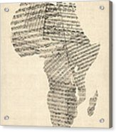 Old Sheet Music Map Of Africa Map Acrylic Print