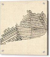 Old Sheet Music Map Of Kentucky Acrylic Print