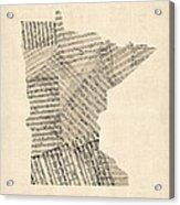 Old Sheet Music Map Of Minnesota Acrylic Print by Michael Tompsett