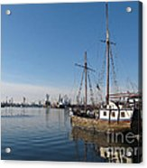 Old Ship In Calm Water Harbor Acrylic Print by Kiril Stanchev