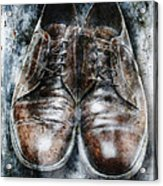 Old Shoes Frozen In Ice Acrylic Print