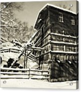 Old Snow Covered Quarry Mill Acrylic Print