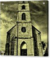 Old St. Mary's Church In Fredericksburg Texas In Sepia Acrylic Print