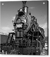 Old Steam Engine Black And White Acrylic Print