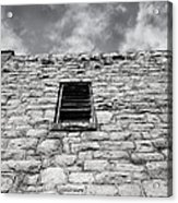 Old Stone Wall Black And White Photograph Acrylic Print