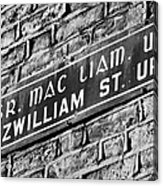 Old Style Green And White Fitzwilliam Street Upper Sign In Irish And English In Dublin On Red Brick Wall Acrylic Print