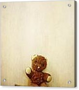 Old Teddy Bear Sitting On Stool Acrylic Print