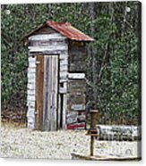 Old Time Outhouse And Pitcher Pump Acrylic Print