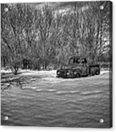 Old Timer In The Snow Acrylic Print